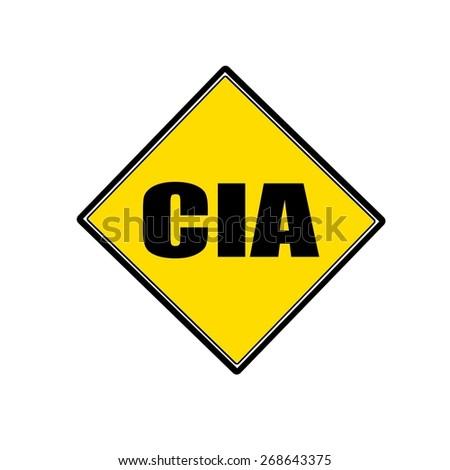 Cia black stamp text on yellow - stock photo