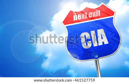 cia, 3D rendering, blue street sign