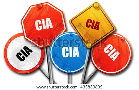 cia, 3D rendering, rough street sign collection - stock photo