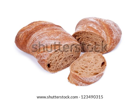 Ciabatta bread. Isolated on white background