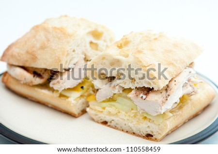 ciabatta bun with chicken, cucumber, heirloom tomato and grated cheddar cheese - stock photo