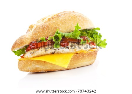 Ciabatta chicken sandwich with fresh salad and cheese isolated on white. - stock photo