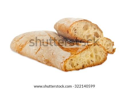 Ciabatta, Italian bread isolated on white background - stock photo