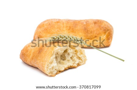 Ciabatta, Italian bread isolated on white background