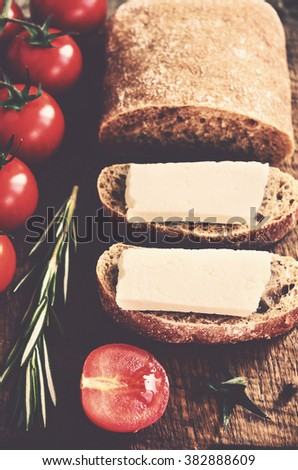 Ciabatta sandwich with goat cheese and fresh tomatoes - stock photo