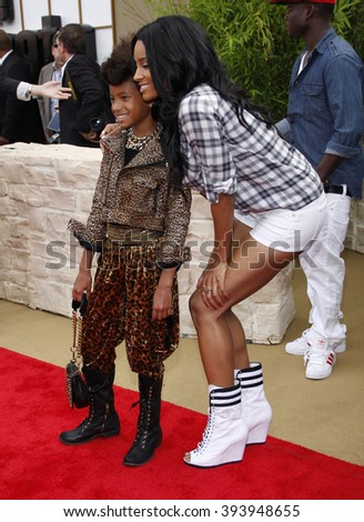"""Ciara and Willow Smith at the Los Angeles Premiere of """"The Karate Kid"""" held at the Mann Village Theater in Westwood, USA on June 7, 2010.  - stock photo"""