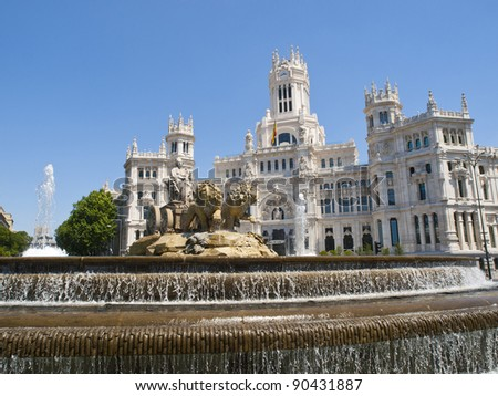 Cibeles Fountain and Communications Palace in Madrid, Spain - stock photo