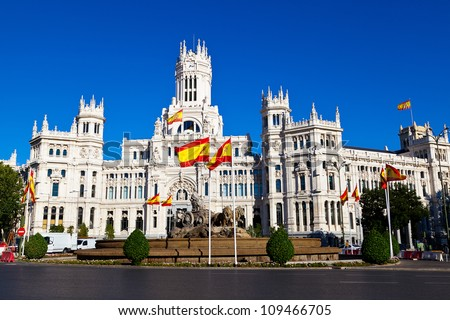 Cibeles Fountain and Palacio de Comunicaciones, Madrid, Spain - stock photo