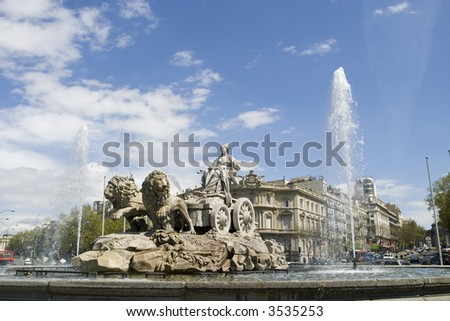 Cibeles Fountain at 20 degrees angle, - stock photo