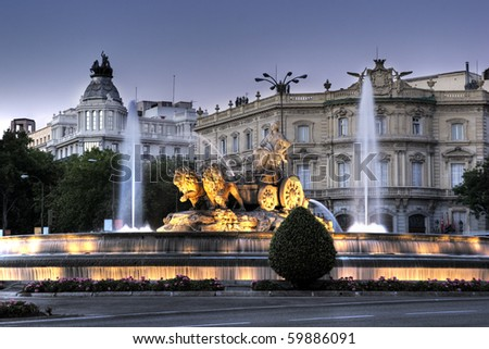 Cibeles Fountain in Madrid, Spain - stock photo