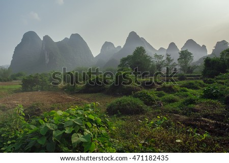 Cicling on China's countryside along the karst mountains.