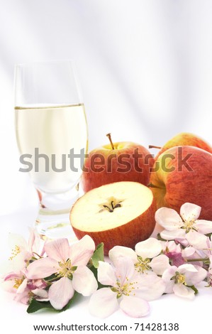 Cider and apple - still life - stock photo