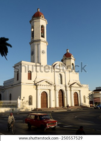CIENFUEGOS, CUBA, DECEMBER 9: cathedral de la Purisma Conception in the historic center of the town, on december 9, 2014 in Cienfuegos, Cuba. - stock photo
