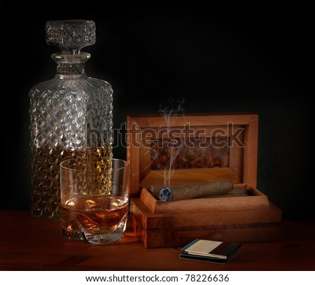 Cigar and bourbon - stock photo