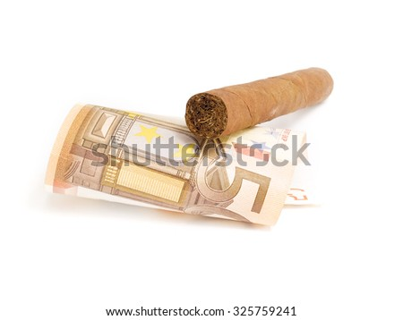 Cigar and 50 euro isolated on white background