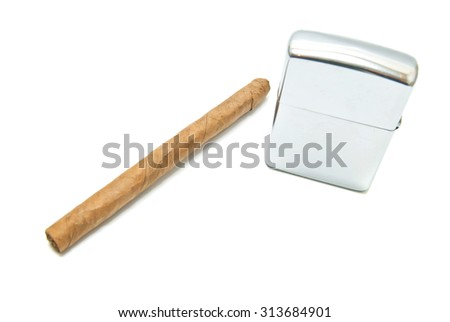 cigar and metal lighter closeup on white background - stock photo