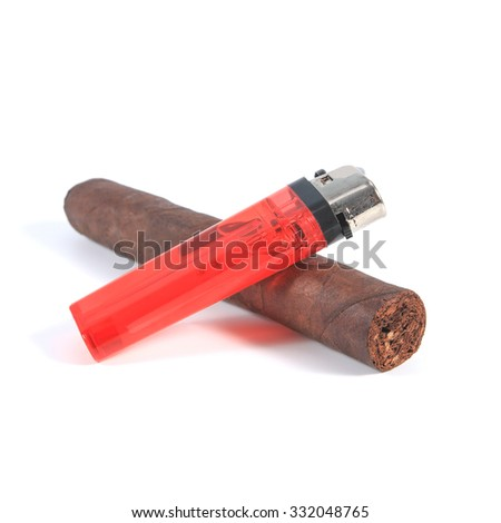 cigar and red plastic lighter on white background - stock photo