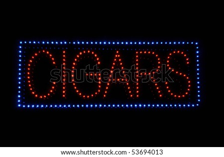 Cigar Neon Light Red and Blue Sign - stock photo