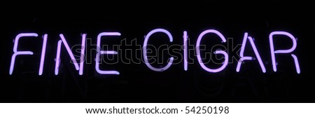 Cigar Neon Sign Light with Purple Text - stock photo