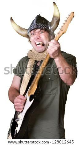 Cigar smoking heavy metal guitarist with scarf - stock photo