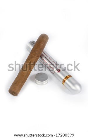 cigar with container isolated on white