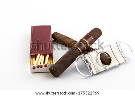 Cigar with matches isolated - stock photo