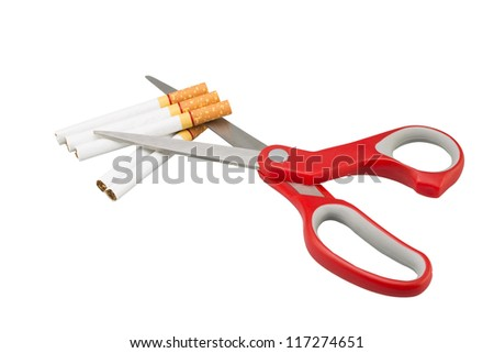 cigarette and a scissors in a white background (Clipping path)