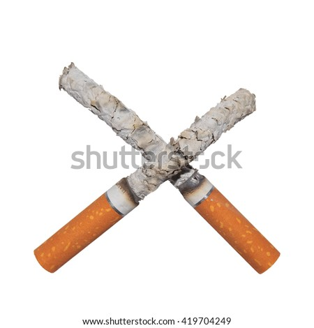 Cigarette and ashes, Isolated background - stock photo