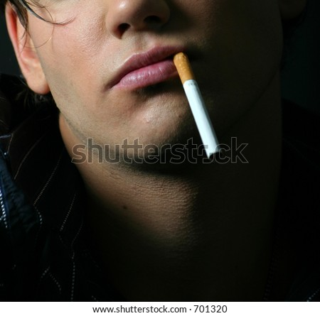 Cigarette and lips