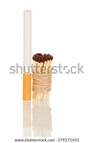 Cigarette and matches associated with string isolated on white background - stock photo