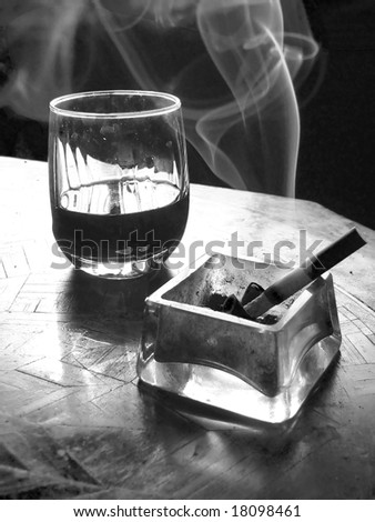 cigarette and wine black and white