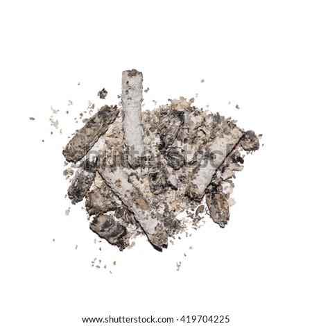 cigarette ash, Isolated background - stock photo