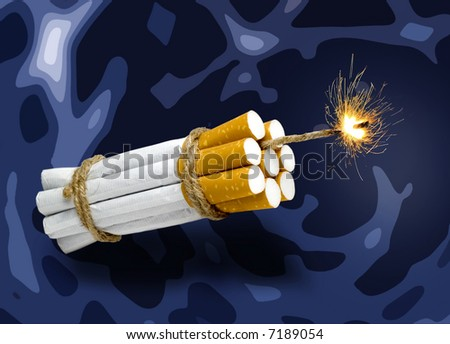 cigarette bind in kind a dynamite with spark - stock photo