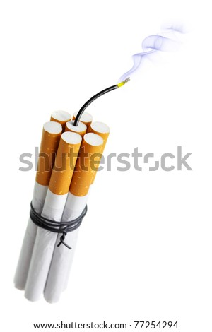 Cigarette bomb isolated over the white background - stock photo