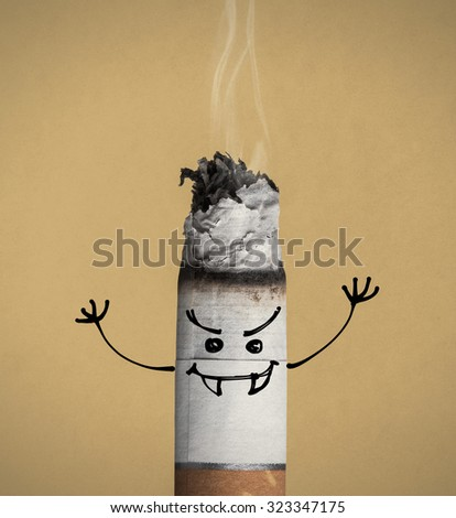 Cigarette burning and evil aggressive funny character with fangs, quit smoking and addiction risks concept - stock photo