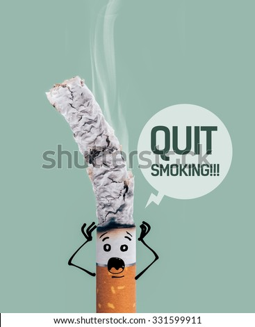 Cigarette burning and funny terrified character with head in hands, quit smoking and addiction risks concept - stock photo