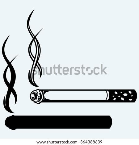 Cigarette burns. Isolated on blue background. Raster version - stock photo
