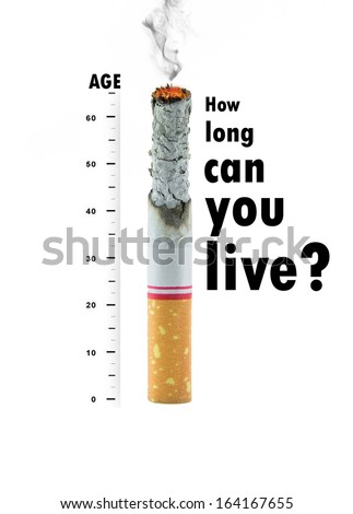Cigarette  burnt down to the butt with text on white background - stock photo