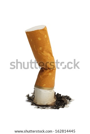 Cigarette Butt and Ash Isolated on White Background. - stock photo
