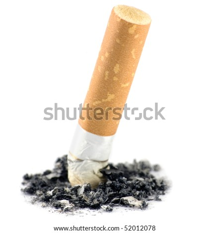 Cigarette butt and ash macro closeup, isolated - stock photo