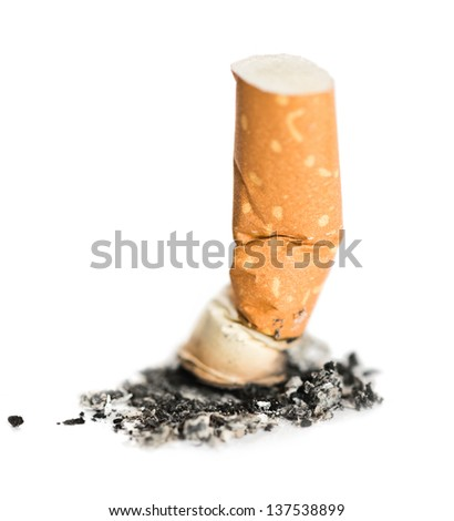 Cigarette butt isolated on white - stock photo