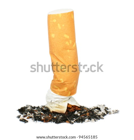 Cigarette butt isolated on white, smoking concept - stock photo