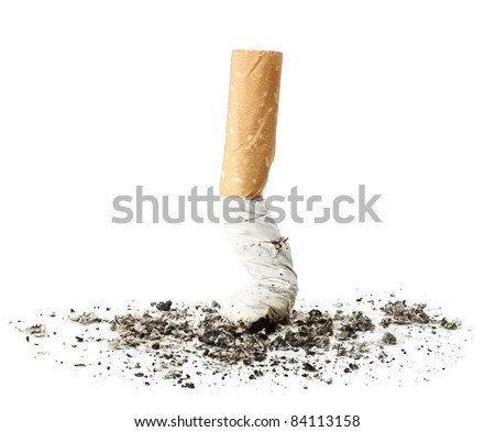 Cigarette butt with ash, isolated - stock photo