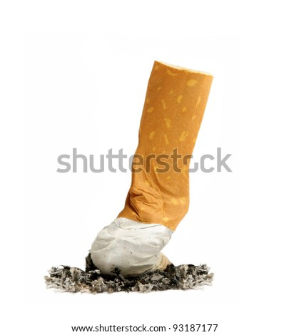 cigarette butt with ash isolated on white