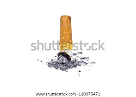 Cigarette butt with ash, Stop smoking