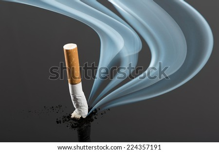 Cigarette butt with curve fume - stock photo