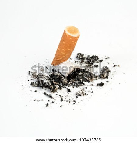 Cigarette butts expressed on white background - stock photo