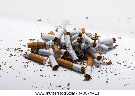 Cigarette concept isolated on white background - stock photo