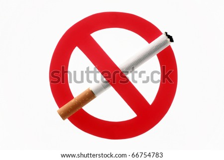 Cigarette crossed out by an interdiction sign - stock photo