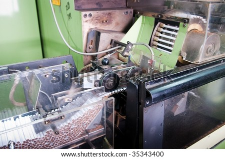 Cigarette factory, process of production - stock photo